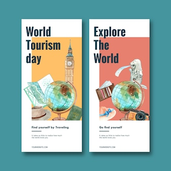 Toerisme flyer ontwerp met globe, clock tower, merlion van singapore.