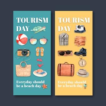 Toerisme flyer ontwerp met strandbal, schildpad, camera, bikini, accessoires.