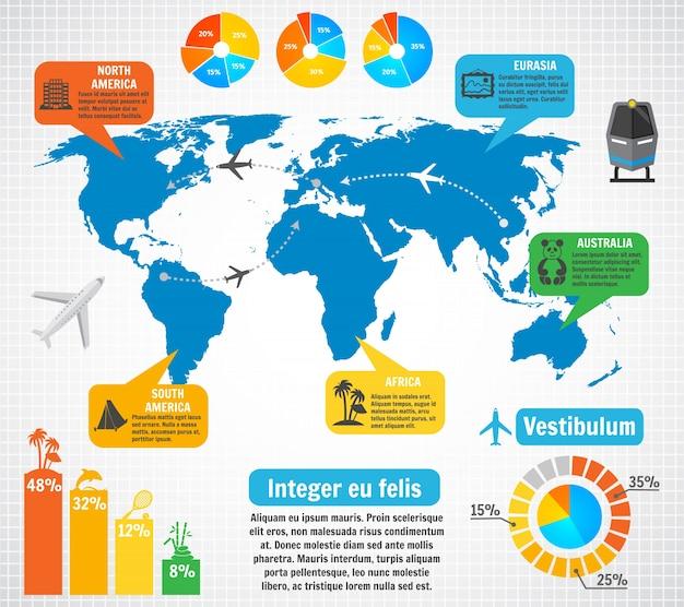 Toerisme infographic elementen ingesteld met wereldkaart reisbestemmingen vector illustratie