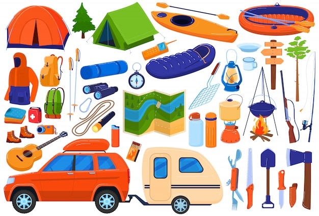Toerisme kamp uitrusting illustratie set, cartoon reizen expeditie collectie voor familietoeristen wandelen, kamperen in het bos