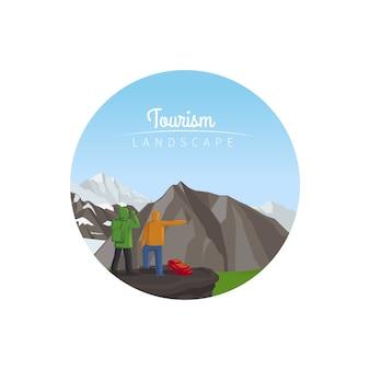 Toerisme landschap cirkel pictogram met bergen