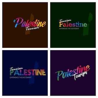 Toerisme palestina typografie logo achtergrond instellen