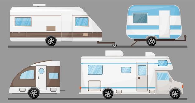 Toerisme vervoer recreatief voertuig stacaravan auto geïsoleerde kampeerwagen