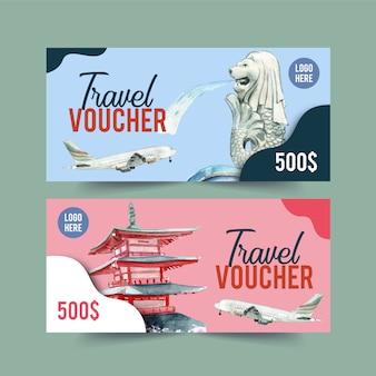 Toerisme voucher ontwerp met merlion, chureito pagode, vliegtuig.