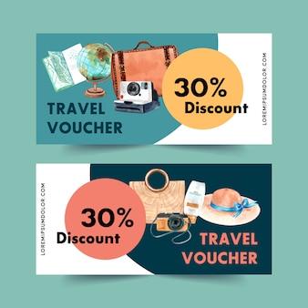 Toerisme voucher ontwerp met tas, globe, camera, hoed