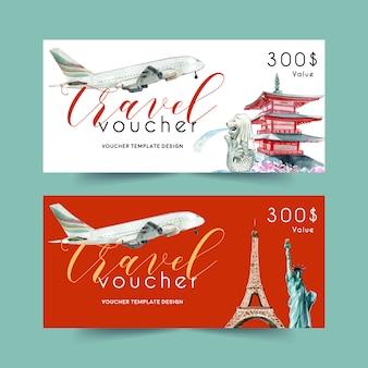 Toerisme voucher sjabloonontwerp met landmark van japan, singapore, frankrijk, new york.