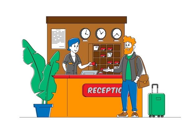Toerisme, zakenreis inn-service. receptioniste character stand bij lobby desk geef kamersleutel aan zakenman gast in de receptie van het hotel. vrouw manager werk in motel. lineaire mensen