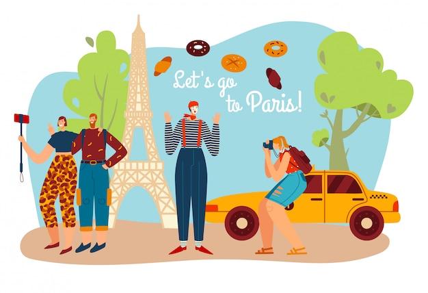 Toerismereis naar parijs, fransman bootst na met eifel handdoek en toeristen nemen foto van frankrijk cultuur symbolen en architectuur landschap cartoon illustratie.