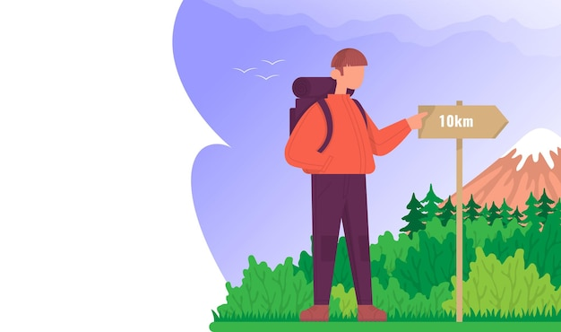 Toerist kijkt naar de wegwijzer concept om buiten te wandelen kleur cartoon platte vector