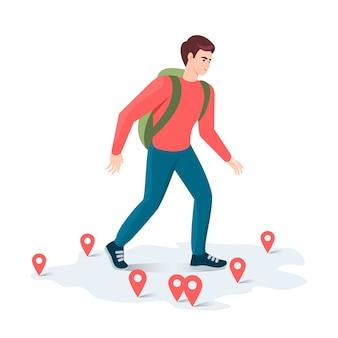 Toerist reist over de kaart met veel pinnen op een witte achtergrond. illustratie van geïsoleerde objecten.