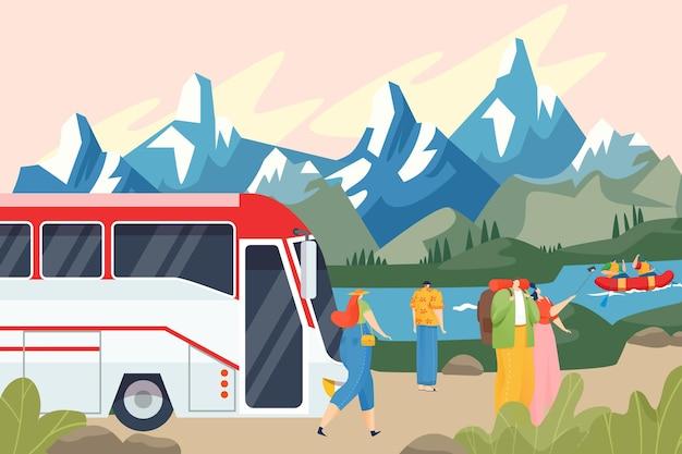 Toeristen bewonderen het berglandschap