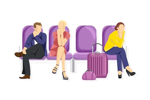 Toeristen die bij de luchthaven wachten