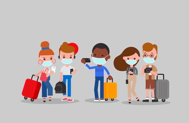 Toeristen die de illustratie van gezichtsmaskers dragen. platte ontwerp stripfiguren.