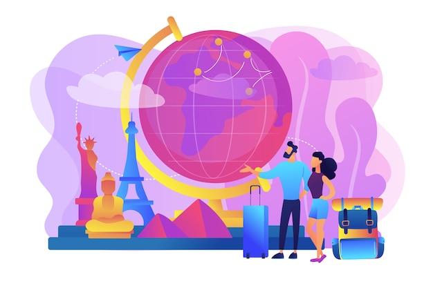 Toeristen die de wereldillustratie bezoeken