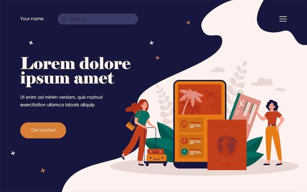 Toeristen die een mobiele app gebruiken om vliegtickets te kopen of online een hotel te boeken. vectorillustratie voor digitale technologie, toerisme, vakantie, toepassingsconcepten