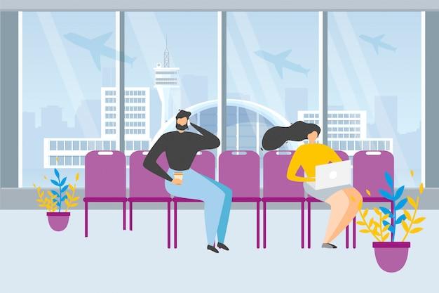 Toeristen die vlucht in luchthaven vectorconcept wachten