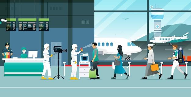 Toeristen door het virus te controleren door een team in het kiembeschermingspak