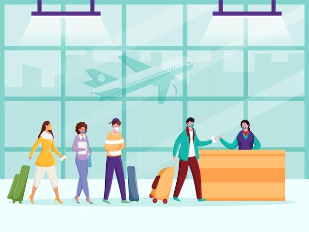 Toeristen dragen beschermende maskers voor de luchthavenreceptie met behoud van sociale afstand om coronavirus te voorkomen.