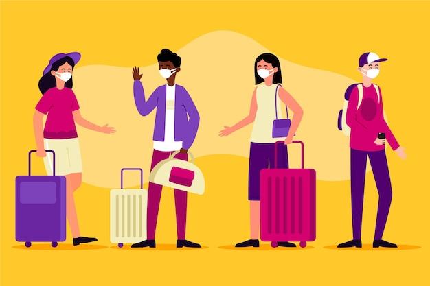 Toeristen dragen gezichtsmaskers ontwerp