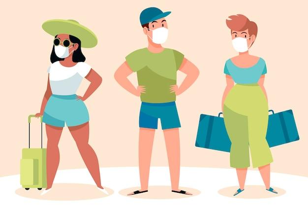 Toeristen dragen gezichtsmaskers