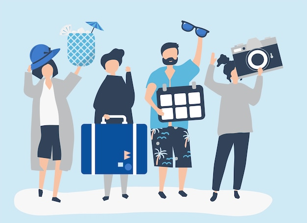 Toeristen gaan op een tropische vakantie