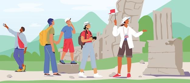 Toeristen groepsexcursie. jongeren met rugzakken en fotocamera's die naar het buitenland reizen. personages bezoek sightseeing