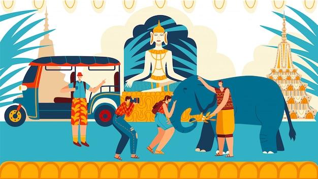 Toeristen in de stad thailand mensen traditionele architectuur, sculpturen en olifant, kaukasische reizigers reizen entertainment cartoon illustratie.