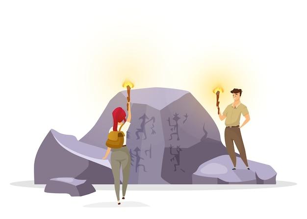 Toeristen in grot vlakke afbeelding. expeditiegroep observeert muurschildering op rots. prehistorische cultuur. vrouw en man met fakkels ontdekken muurschilderingen. ontdekkingsreizigers stripfiguren