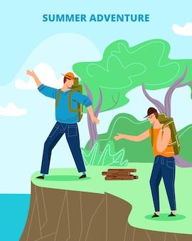 Toeristen met rugzakken staan op edge of cliff