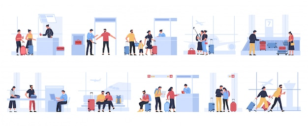 Toeristen op de luchthaven. mensen die wachten op een vliegtuig in de terminal, toeristenpersonages ontvangen paspoortcontrole, passeren bagage-inspectie of krijgen bagage-illustratieset. reizigers met koffers