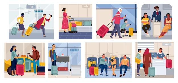 Toeristen op vakantieillustratie