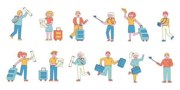Toeristen platte charers set. mensen met bagage. op vakantie gaan .