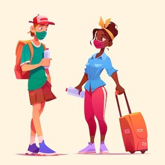 Toeristen praten samen met man en vrouw met medische maskers