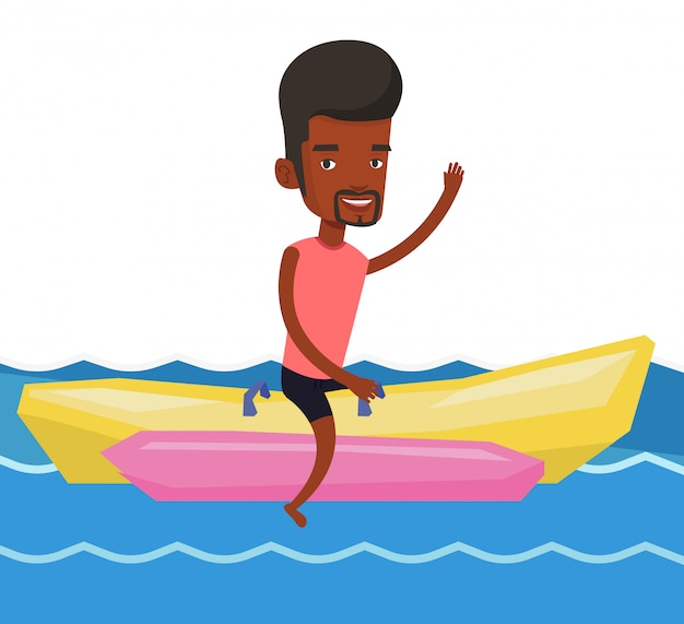 Toeristen rijden op een bananenboot.