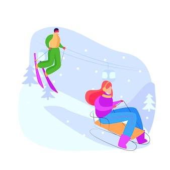 Toeristen sleeën en skiën bergafwaarts