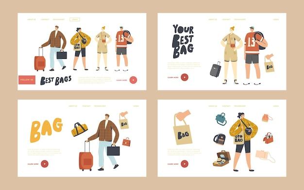 Toeristen tekens met verschillende bagage tassen bestemmingspagina sjabloon set. mensen bereiden zich voor om op vakantie te gaan, reizen met koffers, reticule, student met rugzak. lineaire mensen vectorillustratie