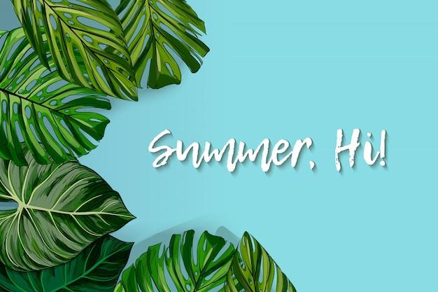 Toeristenaffiche met een rond kader met de tekst hallo zomer en realistische bladeren van een tropische monstera op een zwarte achtergrond.