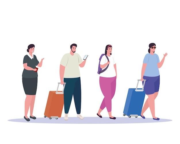 Toeristenmensen lopen en stewardess op witte achtergrond