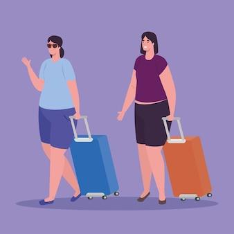 Toeristenvrouwen die met bagage op witte achtergrond lopen
