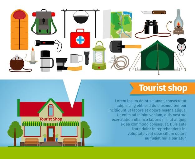 Toeristenwinkel. toeristische uitrusting en gereedschappen voor wandelen en trektochten. artikelen en detailhandel, thermos en slaapzak, avontuur en pot