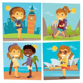 Toeristisch meisje. meisje en jongen op het strand. meisjesreiziger. meisje met camera.