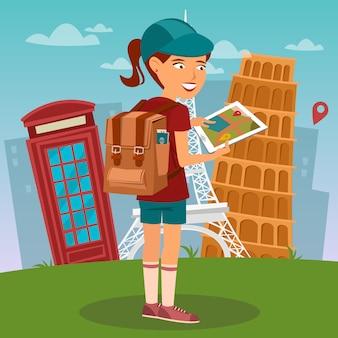 Toeristisch meisje. navigatiekaart op tablet. toerist met behulp van mobile navigator. vrouw met rugzak.