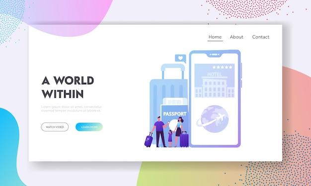 Toeristische app-service, bestemmingspaginasjabloon voor digitale technologieën. cartoon afbeelding