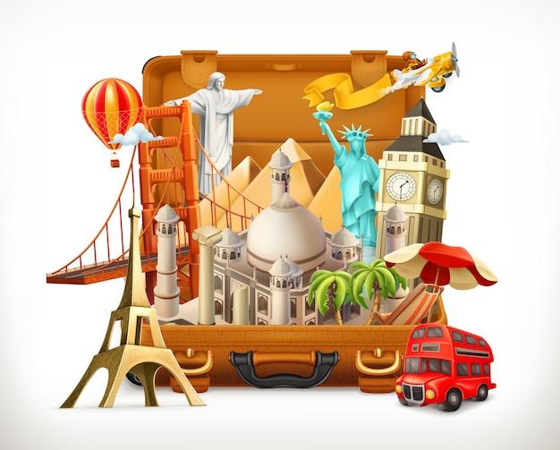 Toeristische attractie in koffer, 3d illustratie