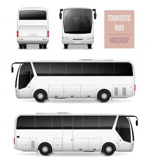 Toeristische bus realistisch adverterend malplaatje