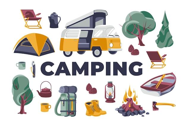 Toeristische camping rest activiteit objecten set geïsoleerd wit