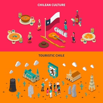 Toeristische chili 2 isometrische horizontale banners