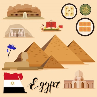 Toeristische egypt travel set-collectie