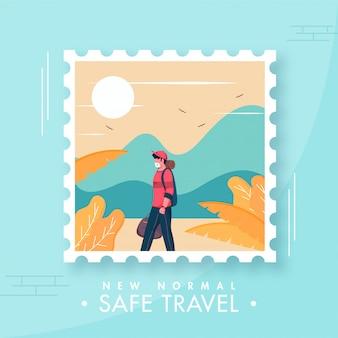 Toeristische jonge jongen draagt beschermend masker met uitzicht op de natuur van de zon in polaroid frame voor nieuw normaal veilig reisconcept.