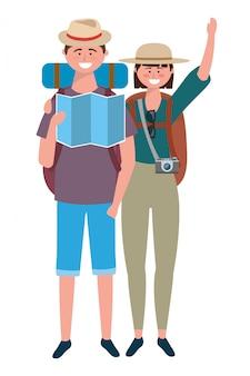 Toeristische jongen en meisje met tas ontwerp